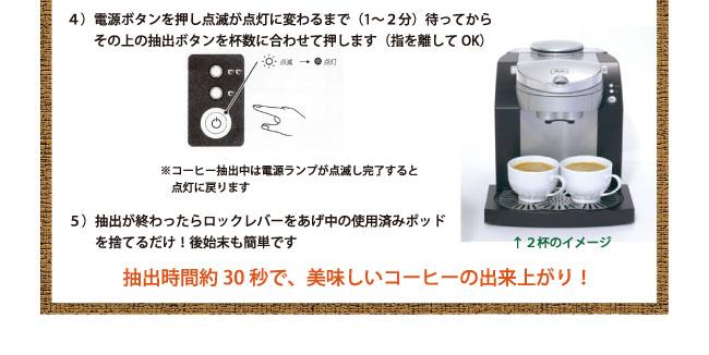 メリタポッドマシン MKM-112でのポッドコーヒー使用例3